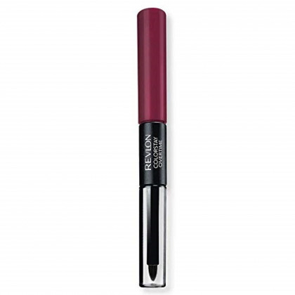 Revlon Colorstay overtime lipcolor, Longwearing Liquid Lipstick with clear lip Gloss, with Vitamin E, In Plum, 500 Limitess Black Cherry, 0.8 Oz