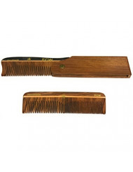 """GBS Mens Hair Care Comb Set - Wood Style Folding Comb All Fine + 5"""" Coarse Fine Wood Pocket Comb - Promotes Hair Growth Naturally Use for Head Hair or as Beard Comb. Made with Natural Wood"""