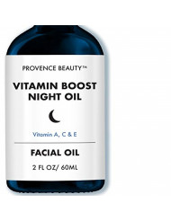 Vitamin Boost Night Facial Serum - Vitamin A, C and E for Anti-Aging, Wrinkle & Fine Line Reduction, Brightening, Damage Repairing Solution - 2 Fl Oz
