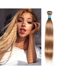 """JulyQueen 100g Bundle Straight Remy Hair Wefts Straight Caramel Blonde 27 Color Hair Extensions Human Hair 100% Colored Brazilian Virgin Human Hair Weave 20"""""""