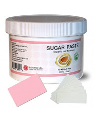 Sugaring Paste for Home Use on Bikini Brazilian Legs Waxing 12oz with 8pcs Sugaring Strips & Plastic Applicator