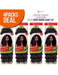 """MULTI PACK DEALS! Outre Synthetic Hair Crochet Braids X-Pression Braid Deep Wave Loop 14"""" (4-PACK, 1B)"""
