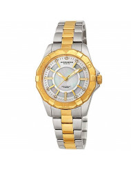 Akribos XXIV Women's Watch - Stylish Gold and Silver Two Tone Stainless Steel Bracelet, Mother of Pearl Dial Cubic Zirconium Stone Markers AK1006TTG