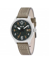 AVI-8 Men's Hawker Hurricane Stainless Steel Japanese-Quartz Aviator Watch with Leather Calfskin Strap, Green, 22 (Model: AV-4053-0G)
