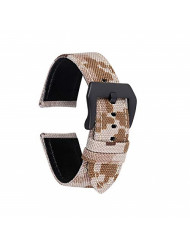 Straps Guy 20mm Cordura Canvas Quick Release Watch Band Strap, Lorica Leather Inner Liner, Stainless Steel Buckle Ballistic Nylon Camouflage Pattern in Desert Camo