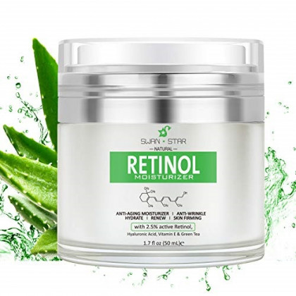 SWAN STAR Natural Retinol Cream Moisturizer for Face, With Vitamin E & Hyaluronic Acid, Anti Aging and Wrinkles - Best Night & Day Facial Cream 1.7 fl oz