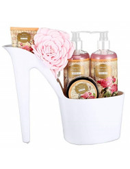 Draizee Rose Scented Home Spa Luxurious 4 Piece Relaxation with Lovely Fragrance Gift Basket Set for Women, Girlfriend (Heel Shoe) - #1 Best Mother's Day Gift for Mom, New Mother