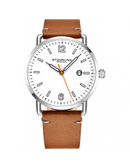 Stuhrling Original Brown Leather Watch Band White Dial Vintage Style 38mm Case with Date - 3901 Mens Watches Collection