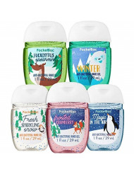 Bath and Body Works Snow Delightful 5-Pack PocketBac Hand Sanitizers (Frosted Cranberry, Fresh Sparkling Snow, Magic in The Air, Eucalyptus Spearmint, Winter)