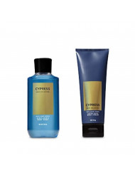Bath and Body Works Men's Collection Cypress 2 in 1 Hair and Body Wash 10 Oz and Body Cream 8 Oz.
