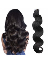 """Wavy Tape in Human Hair Extensions Natural Black 1B Body Wave Glueless Tape in Remy Extensions 20 Pcs Seamless Invisible Double Sided Hair Extensions 18"""" 40 Gram/Package"""