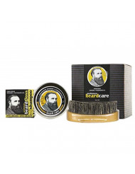 Professor Fuzzworthy BEARD SHAMPOO, Leave in Conditioner Balm & Boar Bristle Brush Grooming Set | Best 100% Natural Beard Care | For Soft Hair & Healthy Beard | Growth Organic Essential & Kunzea Oils