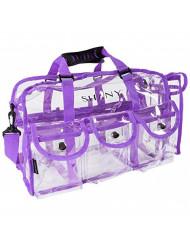 SHANY Clear PVC Makeup Bag - Large Professional Makeup Artist Rectangular Tote with Shoulder Strap and 5 External Pockets - PURPLE