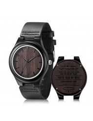 Engraved Wooden Watches for Dad, Casual Handmade Ebony Wood Watch for Men Customized Gift for Birthday, Father's Day
