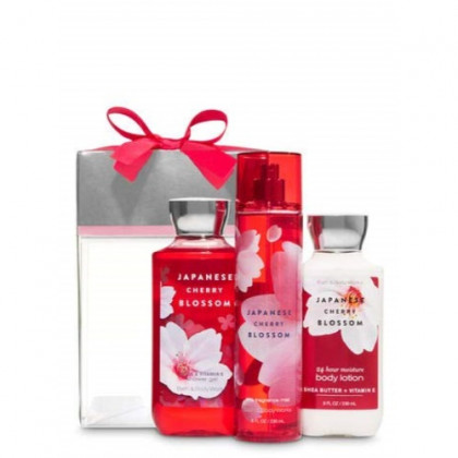 Bath and Body Works Japanese Cherry Blossom Box Gift Set - Body Lotion - Shower Gel and Fine Fragrance Mist