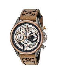 AVI-8 Men's Matador Stainless Steel Japanese-Quartz Aviator Watch with Leather Strap, Brown, 21.7 (Model: AV-4065-02)