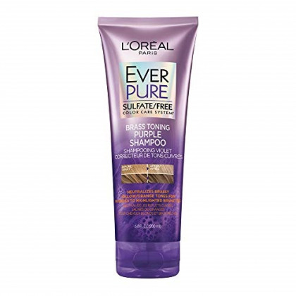 L'Oreal Paris Hair Care EverPure Sulfate Free Brass Toning Purple Shampoo for Blonde, Bleached, Silver, or Brown Highlighted Hair, 6.8 Fl. Oz