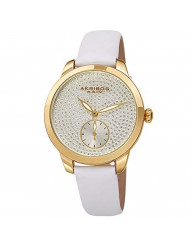 Akribos XXIV Women's Watch - Sparkling Glitter Dots with Sub-Second Subdial - Smooth Leather Strap - AK1089 (White)