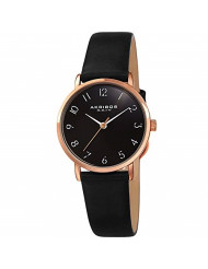 Akribos XXIV Petite Round Women's Watch 28mm Case with Domed Crystal - Oily Calf Leather Strap - AK1087 (Black)