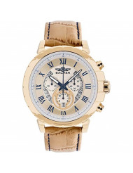 Balmer Atalante Men's Swiss Chronograph Watch - Light Brown Croco Grain Genuine Leather Strap, Gold Case, White and Gold Dial, Blue Accents