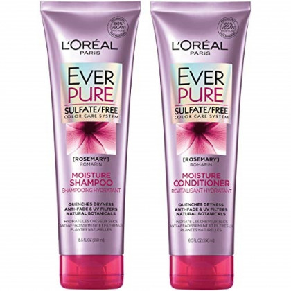 L'Oreal Paris Hair Care EverPure Moisture Sulfate Free Shampoo & Conditioner Kit for Color-Treated Hair, Moisturizes + Replenishes Dry Hair, Combo (8.5 Fl. Oz each)