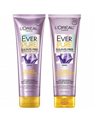 L'Oreal Paris Hair Care EverPure Blonde Sulfate Free Shampoo & Conditioner Kit for Color-Treated Hair, Neutralizes Brass + Balances, For Blonde Hair, Combo (8.5 Fl. Oz each)