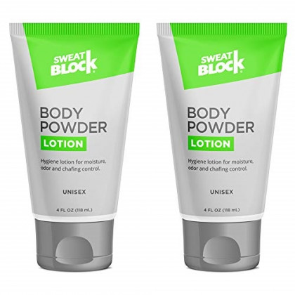 SweatBlock Body Powder Lotion, Talc Free, Anti-Chafing, Deodorizing - No Mess Body Powder for Men and Women, 4 fl oz - 2 Pack