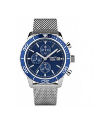 AVIATOR Flight Series Chronograph Watch for Mens - Aviators Waterproof 100m Wristwatch - Blue Dial and Wire Steel Mesh Band Watches for Men