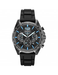 Seiko Men's Stainless Steel Japanese Quartz Silicone Strap, Black, Casual Watch (Model: SSB353)