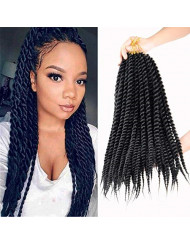 7 Pack Senegalese Twist Crochet Hair 18Inch Havana Mambo Twist Crochet Braids Synthetic Braiding Hair Extensions12 Roots/Pack (18inch, 1B)