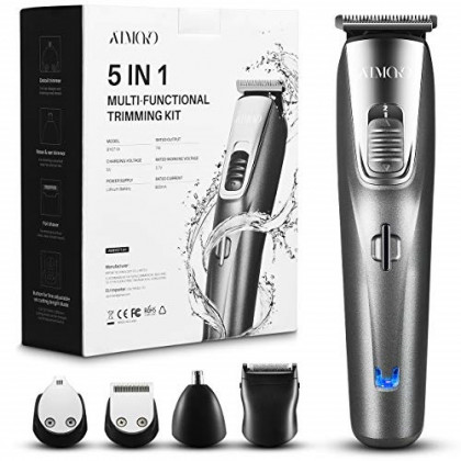ATMOKO Mens Beard Trimmer Grooming Kit Professional Hair Trimmer Mustache Trimmer Body Groomer Trimmer for Nose Ear Facial Hair Cordless Washable USB Rechargeable 5 In 1