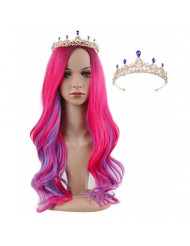 Lovely Long Pink and Blue Kids Wigs with Crown Halloween Costumes Anime Cosplay Party Wigs for Girls