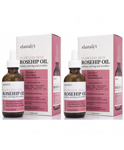 1.8 fl oz Elastalift Rosehip Oil for face with Vitamin C and Cucumber. Pure Rosehip face oil helps with Wrinkles, Scarring, and Redness for a brighter skin complexion. (53 ml) (Two 1.8oz)