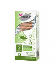 Swisspers Organic Cotton Swabs On Wood Sticks, 180 Count