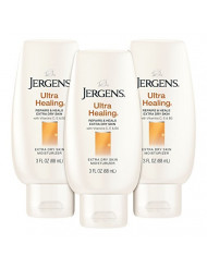 Jergens Ultra Healing Dry Skin Moisturizer, 3 Ounce Travel Lotion, 3-pack, for Absorption into Extra Dry Skin, with HYDRALUCENCE blend, Vitamins C, E, and B5
