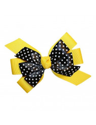WD2U Girls Yellow Black Dotted Bumble Bee GrosGrain Hair Bow Alligator Clip USA