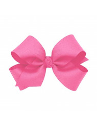 Wee Ones Baby Girls' Medium Classic Grosgrain Hair Bow on a WeeStay Clip w/Knot Wrap Center - Hot Pink