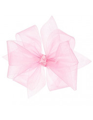 Wee Ones Baby Girls' Medium Classic Organza Double Hair Bow on Barrette - Light Pink