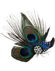 Simplicity Peacock Feather Hair Clip Fascinator with Rhinestones, Nature