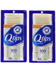 Q-tips Antimicrobial Cotton Swabs 300 Each (Pack of 2)