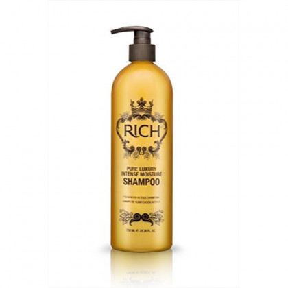 RICH Pure Luxury Intense Moisture Shampoo with Hydrolyzed Keratin & Wheat Protein for All Hair Types - Smoothing & Hydrating - Prevents Breakage, Heat Damage & Frizz, 25.36 FL OZ