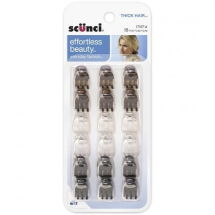 Scunci 1718703a048 Mini Thick Hair Jaw Clips 18Count, Pack of 3