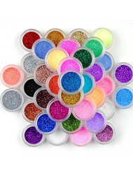 Surepromise 45 Colors Eyeshadow Makeup Nail Art Pigment Glitter Dust Powder Set