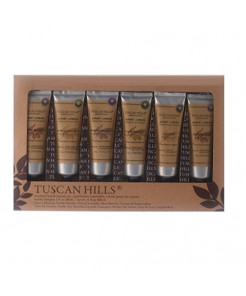 Tuscan Hills 6 Amazing Flavors Scented Hand Cream Boxed in a Giftable Box (Brown)