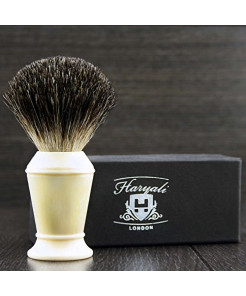 Men's Pure Black Badger Shaving Brush In Ivory Colour Handle. Perfect for Everyday Use.