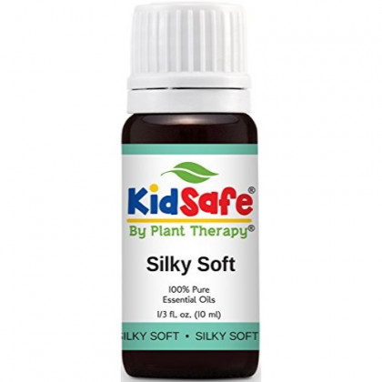Plant Therapy KidSafe Silky Soft Synergy Essential Oil Blend. Blend of: Lavender, Copaiba, Palmarosa, Lemon, Frankincense Carteri and Helichrysum Italicum. 10 ml (1/3 oz).