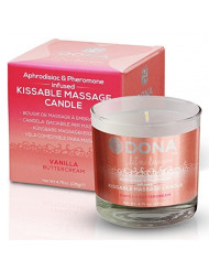 DONA KISSABLE SOY MASSAGE CANDLE (VANILLA BUTTERCREAM) Net Wt 4.75 oz