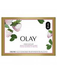 Olay Fresh Outlast Cooling White Strawberry and Mint Beauty Bar, 3.17 Ounce, 4 Count, Packaging May Vary