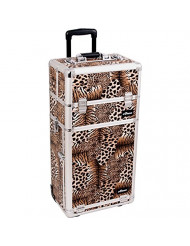 SUNRISE Rolling Makeup Case 2 in 1 Professional Artist, 3 Trays and 3 Drawers, Locking with 2 Mirros, Brush Holder and Shoulder Strap, Brown Leopard
