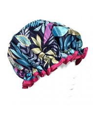 Wrapables Trendy Satin Shower Cap, Twilight Leaves